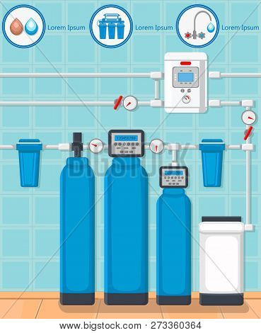 Water Purification System. Water Treatment Plant Concept. Destruction Bacteria. Flasks With Filters