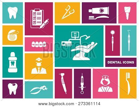 Dental Icons. Vector Illustration In Flat Style