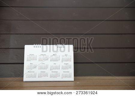 Desktop Calendar Page 2018 For Planer,organization,management Each Date,month Yearon A Office Wooden