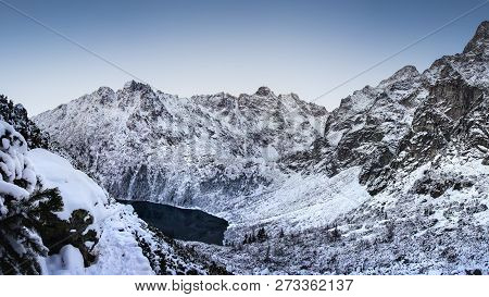 Snowy Mountains. Winter Mountain. Frosty Nature Landscape In Highlands. Christmas Background. Scenic