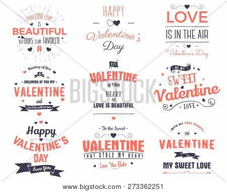 Valentines Day Cards Collection. Typography Overlay Design Elements For Holiday Scrapbooking, Gift C