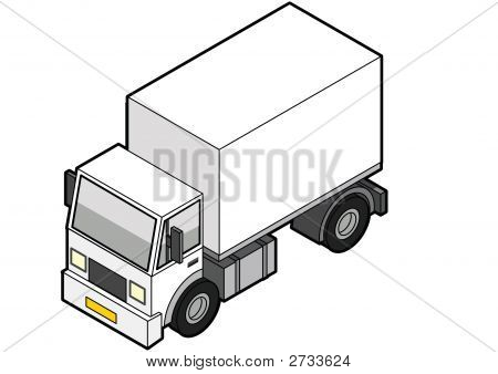 Isometric White Delivery Truck