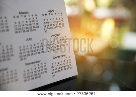 Desktop Calendar Page 2017 For Planner,business,organization,management Schedule Each Date,week,mont
