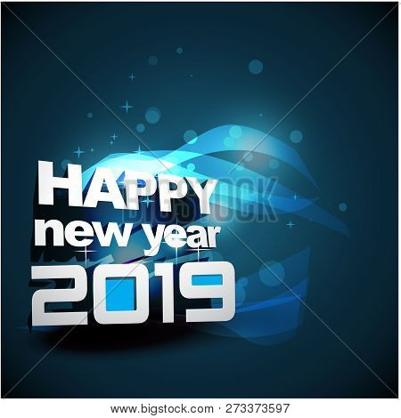 2019 On Blue Neon Background, 2019 New Year, Happy New Year 2019, New Year 2019, Numeral 2019, New Y