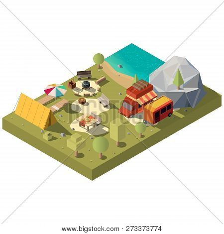 Campsite On River Or Lake Shore Isometric Vector With Camping Trailer And Van, Tourist Tent, Cauldro