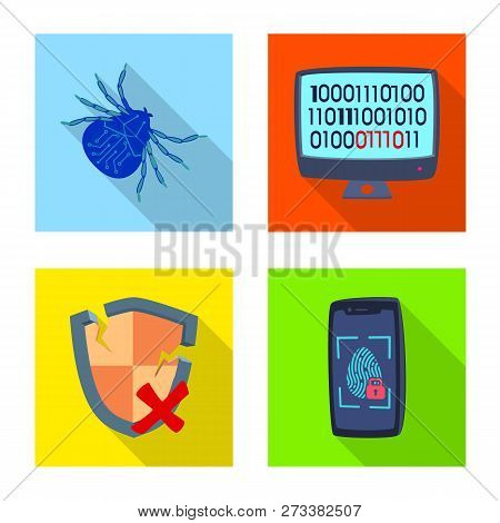 Vector Illustration Of Virus And Secure Symbol. Set Of Virus And Cyber Vector Icon For Stock.