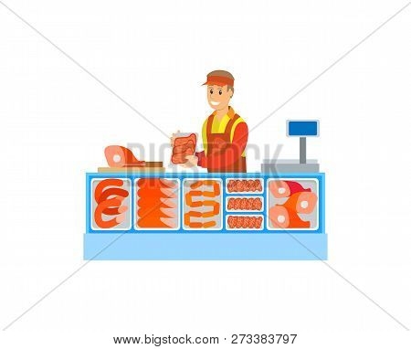 Butchers Department In Supermarket Store Vector. Salesperson Consultant With Sausages Meat, Pork And