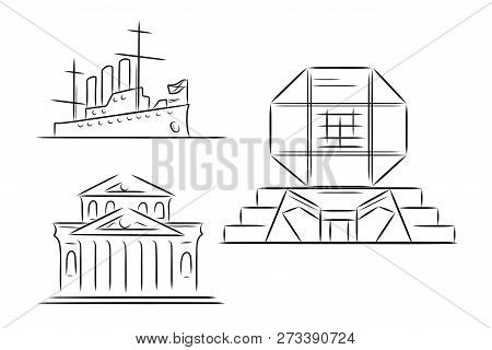 Set Of Hand Drawn Outline Sketches Of Famous Landmarks - Bolshoi Theatre In Moscow, Russia, Cruiser