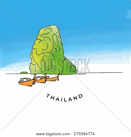Colorful Thailand Rock. Hand-drawn Vector Illustration. Famous Travel Destinations Series.