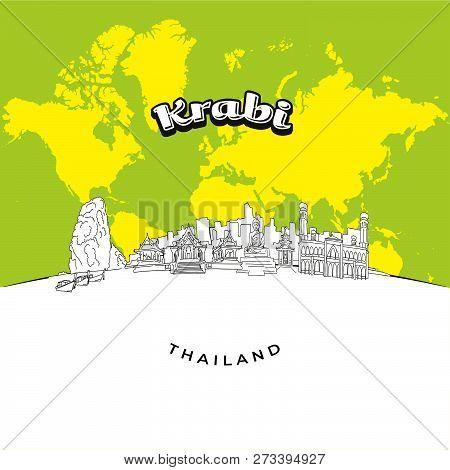 Krabi Thailand Panorama Drawing. Hand-drawn Vector Illustration. Famous Travel Destinations Series.