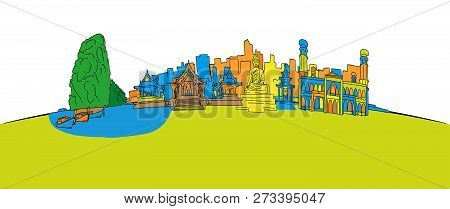 Colorful Thailand Panorama. Hand-drawn Vector Illustration. Famous Travel Destinations Series.