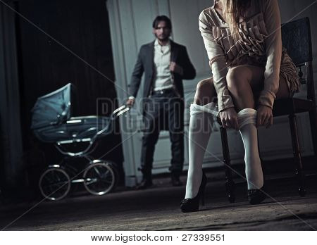 Woman seduces her husband