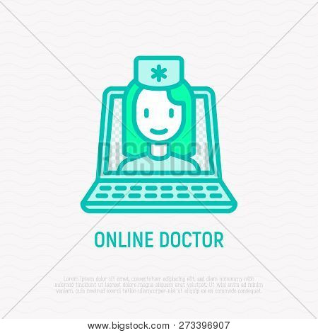 Online Doctor Thin Line Icon: Doctor On Screen Of Laptop. Modern Vector Illustration Of Online Medic