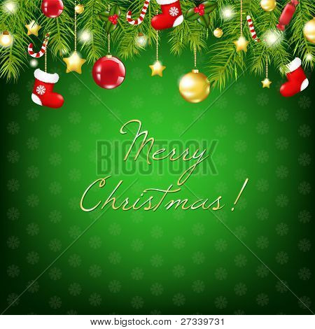 Merry Christmas Silver And Blue Composition, Vector Illustration poster