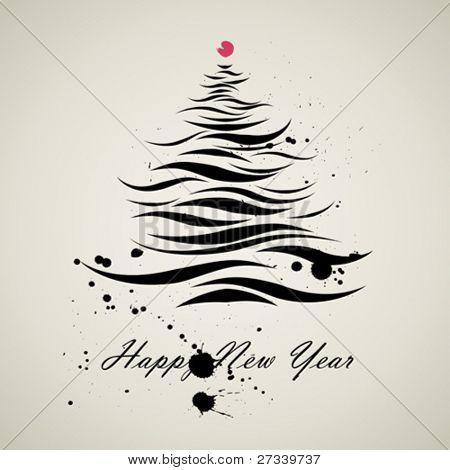 Christmas new year tree kalligrafische kunst