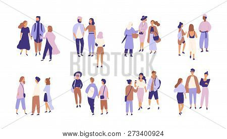 Collection Of People Talking Or Chattering To Each Other. Bundle Of Groups Of Men And Women Having C
