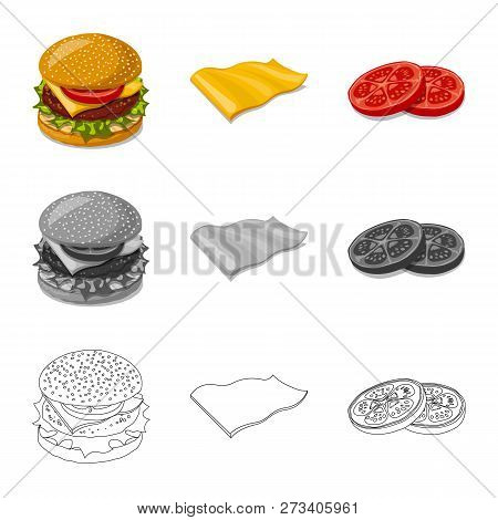 Isolated Object Of Burger And Sandwich Icon. Collection Of Burger And Slice Vector Icon For Stock.