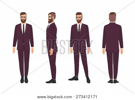 Handsome Bearded Man Or Clerk Dressed In Elegant Business Suit. Smiling Male Cartoon Character Isola