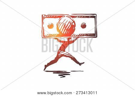 Money, Flow, Finance, Business, Wealth Concept. Hand Drawn Man Running With Cash Concept Sketch. Iso