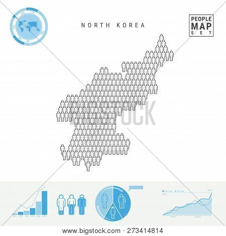 North Korea People Icon Map. People Crowd In The Shape Of A Map Of North Korea. Stylized Silhouette