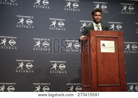 NEW YORK-DEC 8: Oklahoma Sooners quarterback Kyler Murray, winner of the 84th Heisman Trophy, speaks to the media on December 8, 2018 at the Marriott Marquis in New York City.