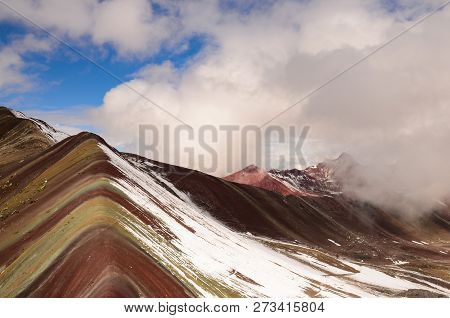 Cloudy Sky At Rainbow Mountain In Peru