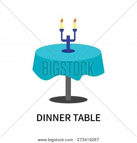 Dinner Table Icon Isolated On White Background. Dinner Table Icon Simple Sign. Dinner Table Icon Tre