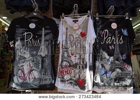 Paris, France, September 7, 2018 - T - Shirts With Paris Logo On Sale In Montmartre Souvenir Shop In
