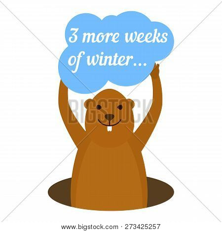Groundhog 3 More Weeks Of Winter Icon. Flat Illustration Of Groundhog 3 More Weeks Of Winter Icon Fo