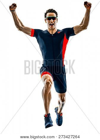 triathlete triathlon runner running  silhouette isolated white b