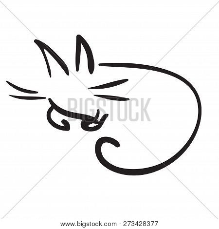 Black And White Simple Funny Cat Like As Ink Drawing
