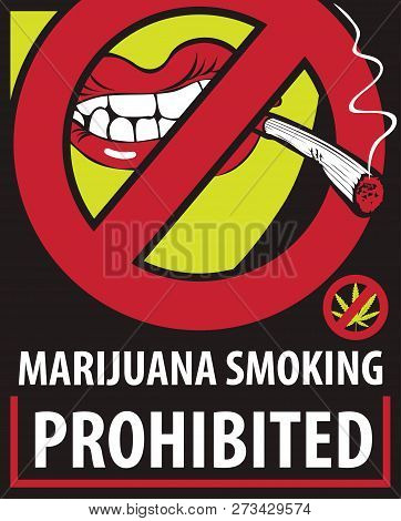 Vector Banner With Words Marijuana Smoking Prohibited With Crossed Out Human Mouth With Joint Or Cigarette In Mouth No Smoking Weed Stop Drug Consumption Prohibition Sign No Cannabis Poster Id 273429574