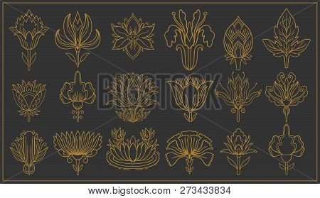 Art Nouveau And Art Deco Floral Ornaments, Modern Flower Vintage Elements. Retro Decoration Style. S