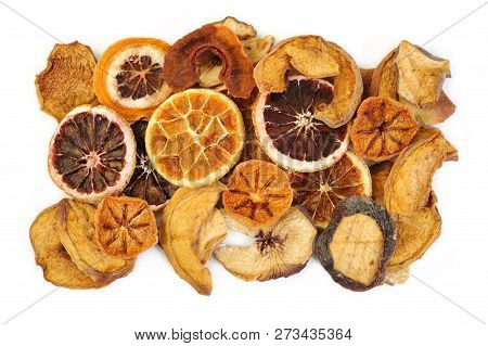 Sweet Dried Fruits At On White Background