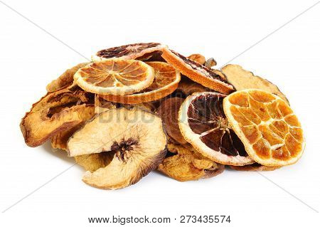 Cut Dried Fruits At On White Background