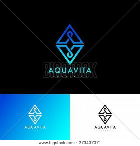 A and V letter.  A, V monogram. Logo consist of blue-azure lines as triangles shape with a drops or loops. Identity. Web, UI icon. poster