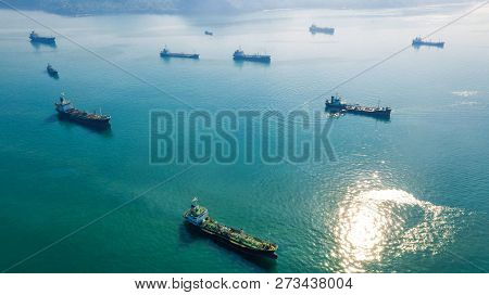 Oil Tanker, Gas Tanker In The High Sea.refinery Industry Cargo Ship,aerial View,thailand, In Import