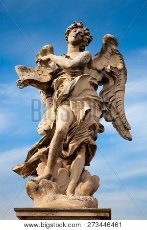 Angel Statue By Bernini Along Santangelo Bridge In Rome