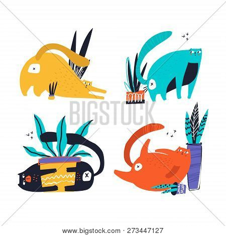 Guilty Cats Flat Hand Drawn Vector Color Characters Set. Cute, Naughty And Playful Cats Eat, Damage
