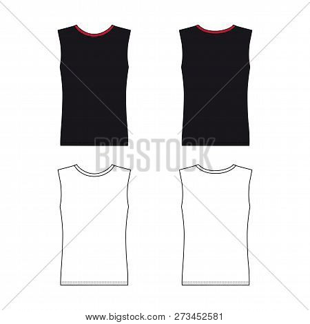 Sleeveless T-shirt Outlined Template (front & Back View), Vector Illustration Isolated On White