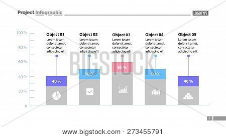 Five Columns Bar Chart Slide Template. Business Data. Percentage, Comparison, Design. Concept For In