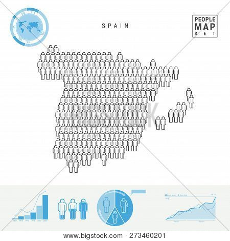 Spain People Icon Map. People Crowd In The Shape Of A Map Of Spain. Stylized Silhouette Of Spain. Po