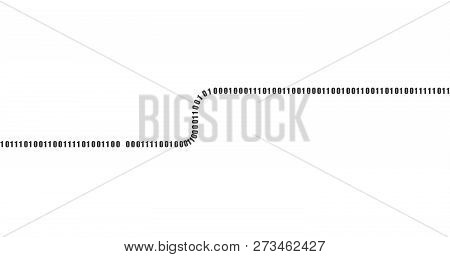 Coding Or Hacker Concept. Vector Matrix Background. Horizontal Stream Or Letter S Of Binary Code On