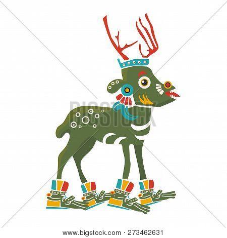 Aztec Codex Borbonicus Art Imitation Vector Illustration. Tribal Native Mexican American Deer. Aztec