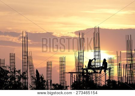 Silhouette Construction Industry Of Engineer Business Concept With Worker Standing On Safety Stand F