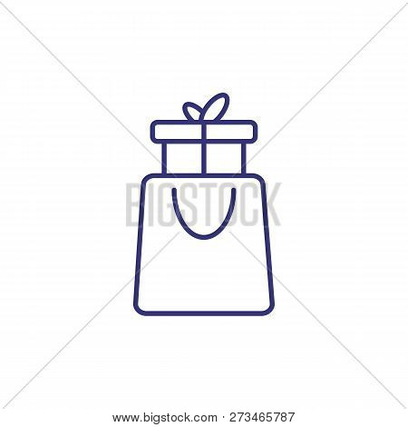 Gift Box In Package Line Icon. Holiday Shopping, Holiday Sale, Buying Presents. Christmas Concept. V