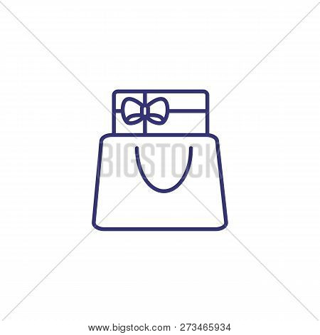 Gift Package Line Icon. Holiday Shopping, Shopping Bag, Birthday Present. Christmas Concept. Vector