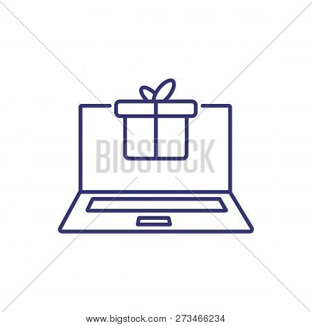 Online Gift Line Icon. Laptop With Gift Box On Screen, Online Shopping, Gift Message. Christmas Conc