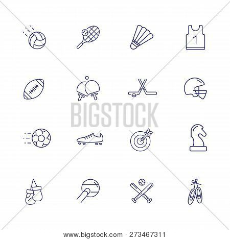 Active Lifestyle Icon Set. Set Of Line Icons On White Background. Sport Concept. T-shirt, Rugby, Bic