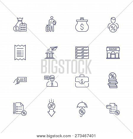 Banking Line Icon Set. Set Of Line Icons On White Background. Purse, Coins, Banknotes. Economy Conce